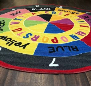 NEW COLOURS ABC CHILDREN 200X200CM CIRCLE RUGS MATS HOME SCHOOL EDUCATION MULTI